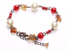 REGAL RUBY RED & PRECIOUS PEARLY BEAD DARK METAL BRACELET, ADJUSTS 5CM (ZX47)