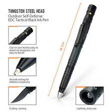 TACTICAL PEN TUNGSTEN SELF DEFENSE SURVIVAL CAMPING LED LIGHT KNIFE STEEL HEAD
