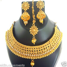 Indian Jewelry Necklace Bollywood Bridal Ethnic Gold Traditional Set FASHION EDH