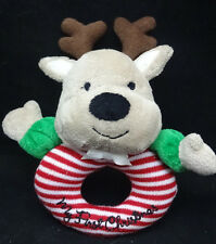 """My First Christmas Reindeer Baby Rattle Red White Stripes Tan Brown Plush 6"""" Toy"""