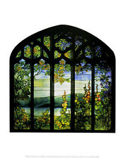 Louis Comfort Tiffany Landscape with Hollyhocks Poster Kunstdruck Bild 36x28cm