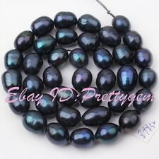 8-9mm Black Natural Oval Freshwater Pearl Gemstone Spacer Loose Beads Strand 15""