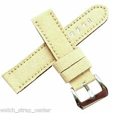 20mm 22mm 24mm Diloy Jeans Denim Canvas Watch Strap Band in Sand