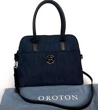 New Oroton Metropolis Grip Top Bag Handbag Leather Denim RRP$695 Limited Edition