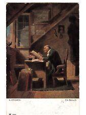 CC15.Vintage Postcard.The Visitor. Blackbird. By C.Spitzweg. Ein Besuch.
