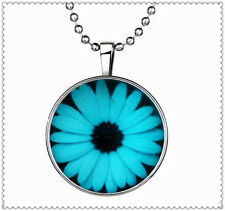 Glow in the Dark White daisies Cabochon Tibet silver Glass Necklace Pendant