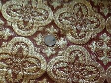 METALLIC BURGUNDY AND GOLD CROSS VESTMENT  BROCADE FABRIC
