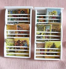 2 Miniature WALL MOUNTED MAGAZINE RACKS  &  BOOKS white 12th Doll House