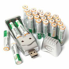 New 24PC AAA 1350mAh 1.2V Ni-MH BTY Rechargeable Battery +AA AAA BTY USB Charger