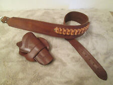 "Cowboy Western Brown Leather Tapered Gun Belt Side Draw Holster 45 Colt 4.75"" RH"