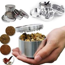 "New 2"" Silver Nice 4-piece Metal Hand Muller Herb Spice Tobacco Grinder Crusher"