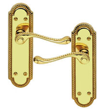 Georgian Scroll Polished Brass Finish Door Handles without Keyhole (25558)