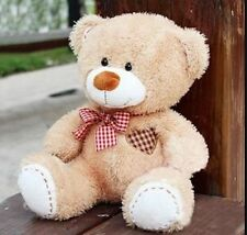 plush scarf beige teddy bear grid heart stuffed animal soft toys 20cm baby doll