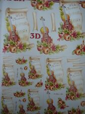 Christmas Card Making 3D Paper Tole Violin & Music