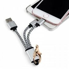2 in 1 Nylon Braided USB Charge Cable with Metal Keychain for iPhone and Android