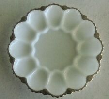 Milk Glass Deviled Egg Plate, Gold Fired-On Trim,  Center for Condiments