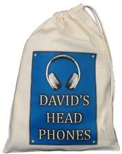 PERSONALISED - Head Phones Drawstring Storage Bag - DJ / Music - BLUE -earphones