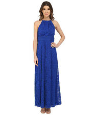 MAGGY LONDON PIN-TUCK DROP WAIST MAXI CASCADE BLUE DRESS sz 6