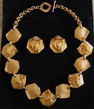 Parure collier boucles d'oreilles clips plaqués or initiales Yves Saint Laurent