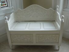 Trunk/chest ottoman seat antique white shabby chic  hand carved wood storage