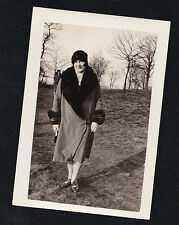 Vintage Antique Photograph Woman Wearing Cool Coat With Fur and Flapper Hat