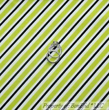 BonEful FABRIC FQ Cotton Quilt White Black Green Lime B&W STRIPE Small Xmas Sale