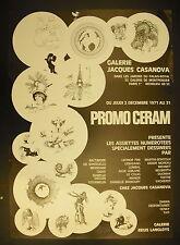 Affiche exposition Galerie Jacques Casanova Promo Céram assiettes dessinées