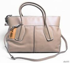 new $1695 TOD'S D-Styling Manici Medium tan leather tote satchel BAG