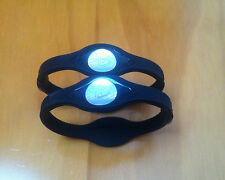 2x BLACK Power Balance Energy Health Band Bracelet- Size Medium with Box