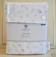 Rachel Ashwell Simply Shabby Chic Candy Pink Blue Floral Cottage QUEEN Sheet Set
