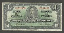 Canada 1 Dolllar 1937; F+; P-58e; C-BC21d; sign. Coyne/Towers; King George VI