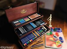 Royal & Langnickel Sketching & Drawing Deluxe Art Set 134 Piece w FINE WOOD CASE