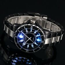 New Fashion LED Light Stainless Steel Analog Quartz Men's Waterproof Sport Watch