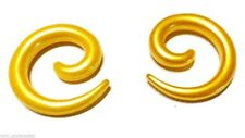 PAIR-Tapers Spiral Pearl Gold Acrylic 05mm/4 Gauge Body Jewelry