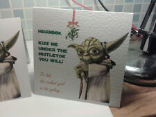 Personalised Star Wars Christmas card Mistletoe Yoda. Sent for you or to you.