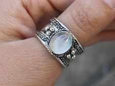 Delicate Adjustable Tibetan Natural Oval Rainbow Moonstone Gemstone Dotted Ring