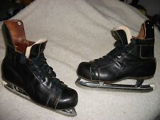 VINTAGE CCM ICE HOCKEY SKATES MENS SIZE 12 TUBE BLADES, GREAT SHAPE ALL LEATHER