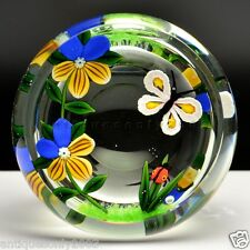 Faceted WILLIAM MANSON Butterfly Ladybird Limited Glass Paperweight SIGNED #1743