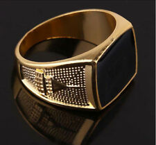 Hot sell Stylish 14K gold filled Black Enamel ring Men Father's gift Size 11