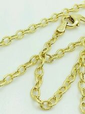 "14k Yellow Gold Textured Oval Cable Link Pendant Necklace Chain 24"" 2.5mm"