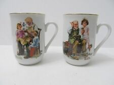 NORMAN ROCKWELL Museum 'The Toymaker',  The Cobbler' Coffee Mugs Cups Ceramic