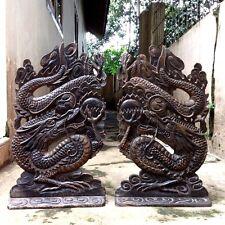 """2 Pcs Pair Antique Dragon 17"""" Teak Wood Carving Panel Statue Table Decor #WCS11"""