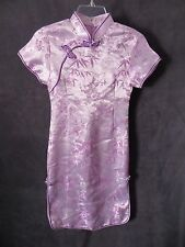 M.M Lavender Satin Knit Purple Mandarin Asian China Doll Girls Costume Dress 12