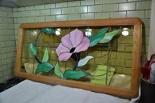 """STUNNING 46"""" x 22"""" Artist Signed stained glass window MORNING GLORY, Tiger Oak"""