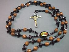 Rosary Necklace BLACK & BROWN Wood Beads GOLD & SILVER Tone Crucifix NICE GIFT!