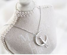 "Sterling silver Moon Cat Love pendant necklace 18"" Chain Gift box L17"