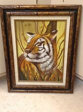 Retro Crouching Tiger Oil On Canvas Painting Dated 1981 Signed Franklin~Estate