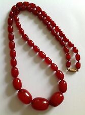 Lovely Antique Graduated Cherry Amber Bead Necklace - 54 Grammes