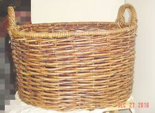 LARGE BROWN WICKER BASKET WITH  HANDLES- NEW