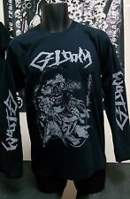 gloom dbeat crust punk hardcore metal band tshirt long sleeve M size + backpatch